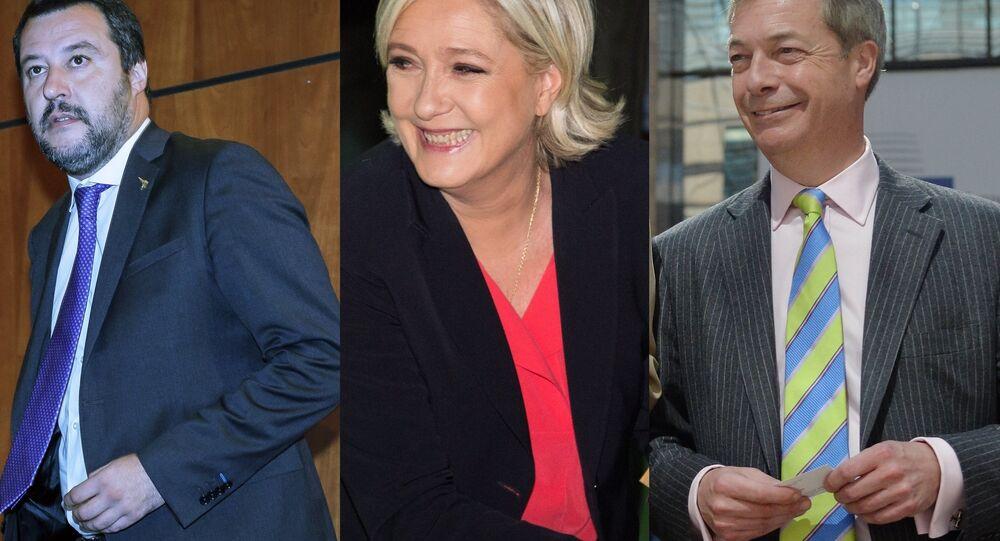 Matteo Salvini, Marine Le Pen and Nigel Farage