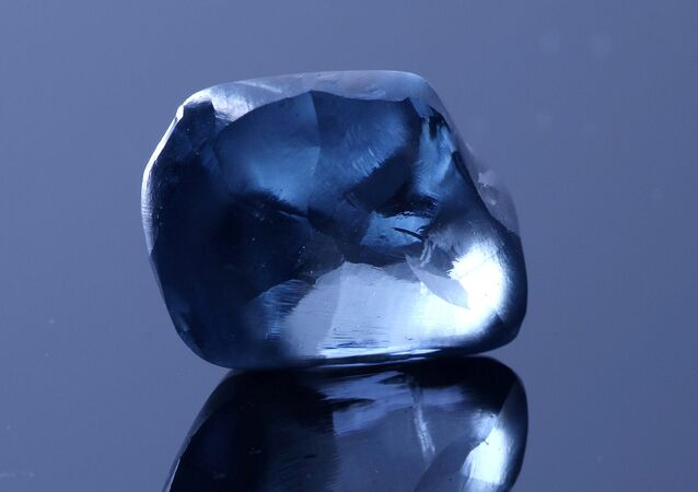 A blue diamond, weighing over 20 carats, is seen in this undated handout picture released by Okavango Diamond Company in Gaborone