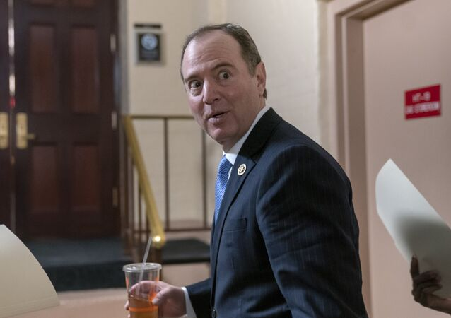 House Intelligence Committee Chairman Adam Schiff, D-Calif., arrives for a Democratic Caucus meeting at the Capitol in Washington, Tuesday, March 26, 2019. Schiff, the focus of Republicans' post-Mueller ire, says Mueller's conclusion would not affect his own committee's counterintelligence probes.