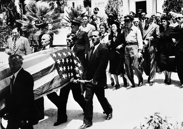 The funeral of US journalist George Polk in Athens, Greece in 1948. His death remains shrouded in mystery