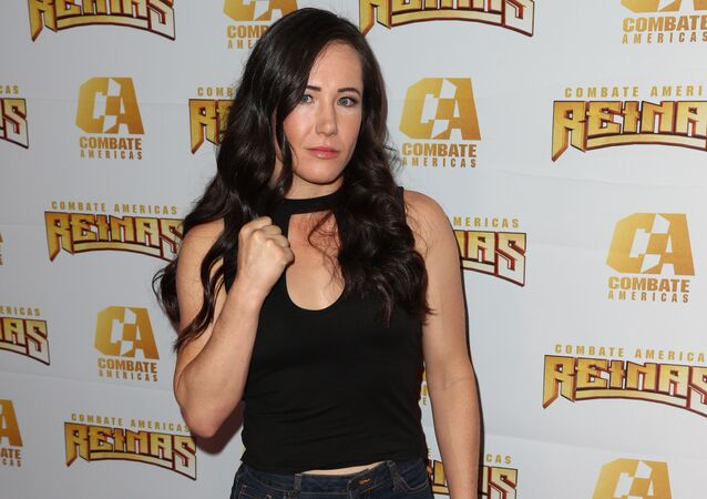 Angela Your Magesty Magana arrives at Kate del Castillo's announcement of her landmark deal with global MMA brand Combate Americas at LA River Studios on April 04, 2019 in Los Angeles, California