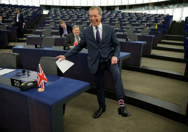 Brexit campaigner and Member of the European Parliament Nigel Farage arrives to attend a debate on the outcome of the latest European Summit on Brexit, at the European Parliament in Strasbourg, France, April 16, 2019