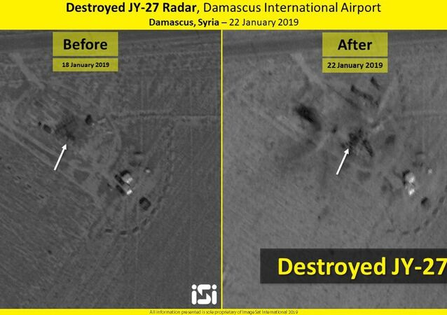 Before and after the strike: JY-27 radar in Damascus International Airport, Syria, 20 January 2019