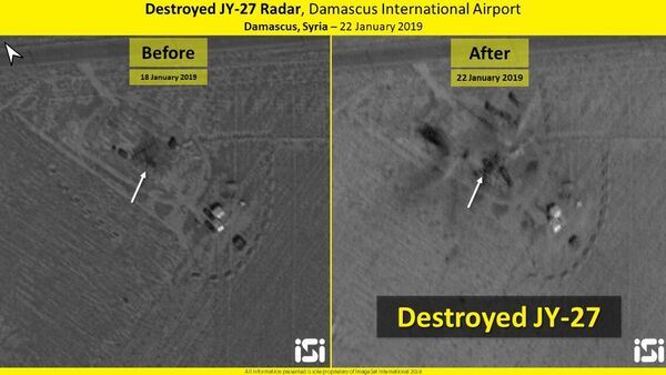 Before and after the strike: JY-27 radar in Damascus International Airport, Syria, 20 January 2019 - Sputnik International