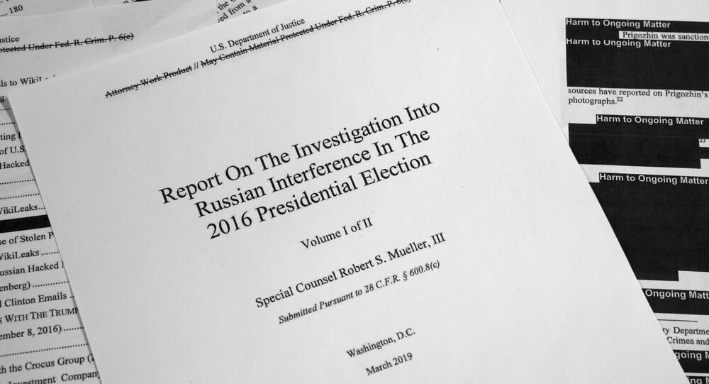 Special counsel Robert Mueller's redacted report on Russian interference in the 2016 presidential election as released on Thursday, April 18, 2019, is photographed in Washington.