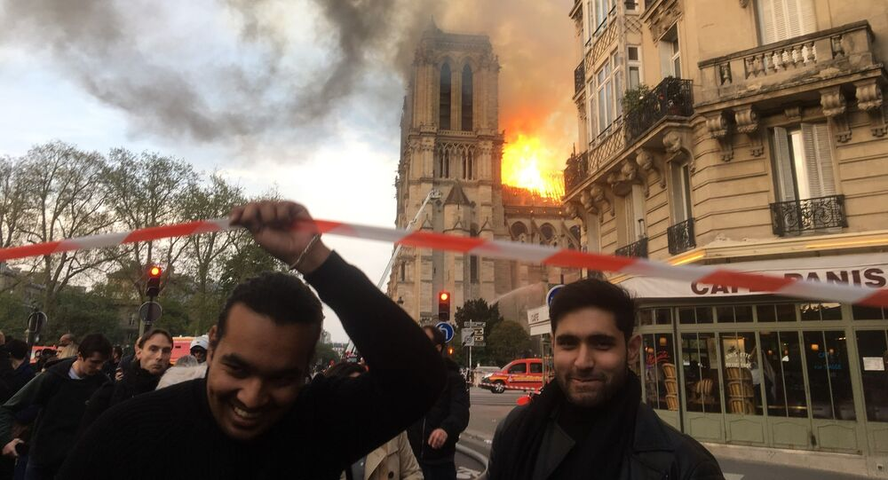 Notre Dame Cathedral on fire, Paris