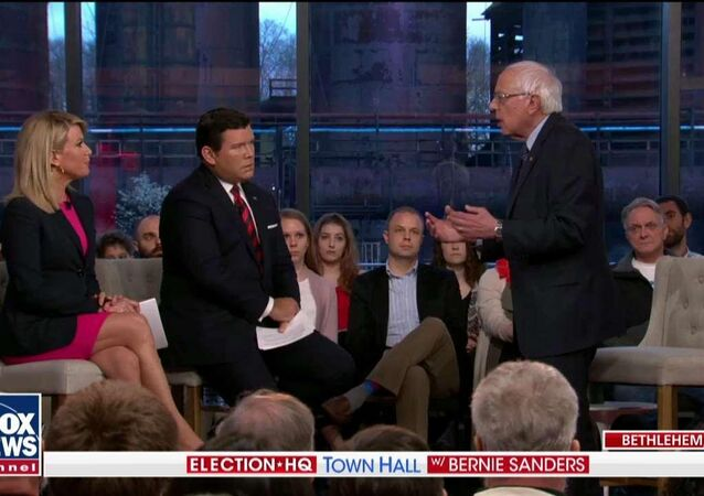 US 2020 Democratic presidential candidate Bernie Sanders speaks on Fox News Monday April 15, 2019