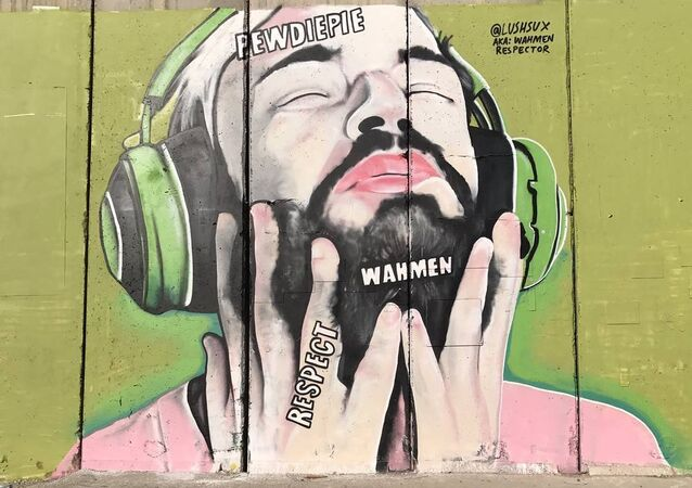 PewDiePie's image on the wall in Palestine