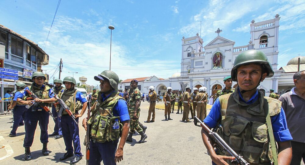 Sri Lankan Army soldiers secure the area around St. Anthony Shrine after a blast in Colombo, Sri Lanka, Sunday, April 21, 2019.