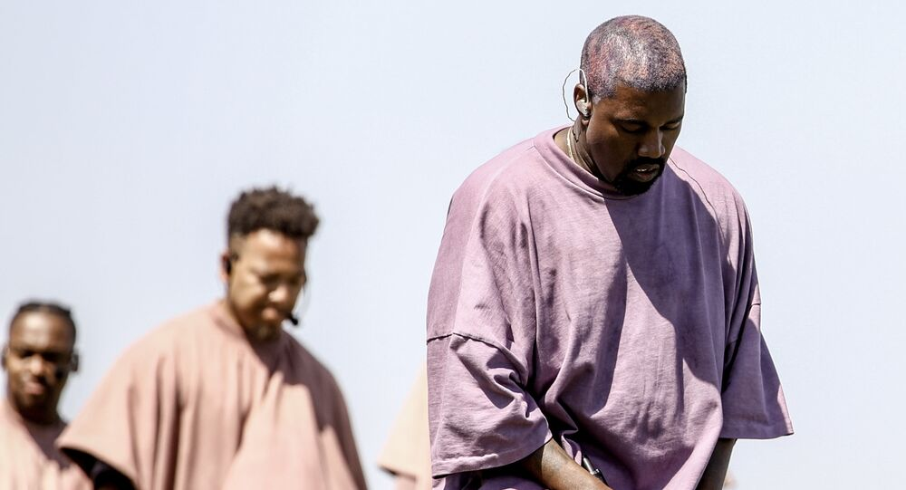 Kanye West performs Sunday Service during the 2019 Coachella Valley Music And Arts Festival on April 21, 2019 in Indio, California