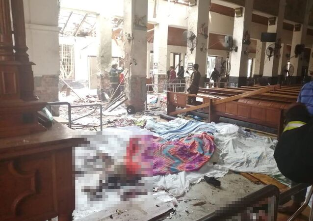 A view of St. Sebastian's Church damaged in blast in Negombo, north of Colombo, Sri Lanka