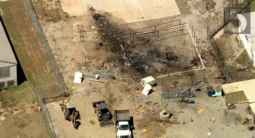 Aftermath of Vintage Northrop N-9M Plane Crashing Into California Prison Yard, Killing Pilot