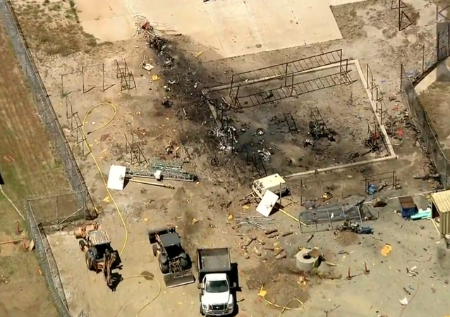 Aftermath of Vintage Northrop N-9M Plane Crashing Into California Prison Yard, Killing Pilot
