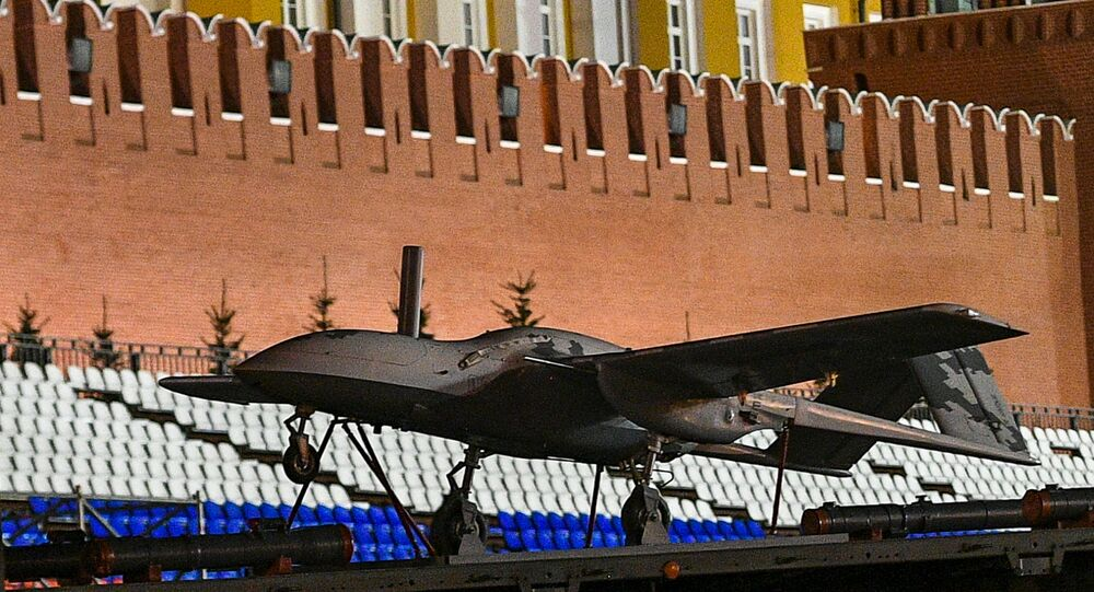 Russia's Korsar drone flight model during Russian army rehearsals for 9 May 2019 Victory Day military parade