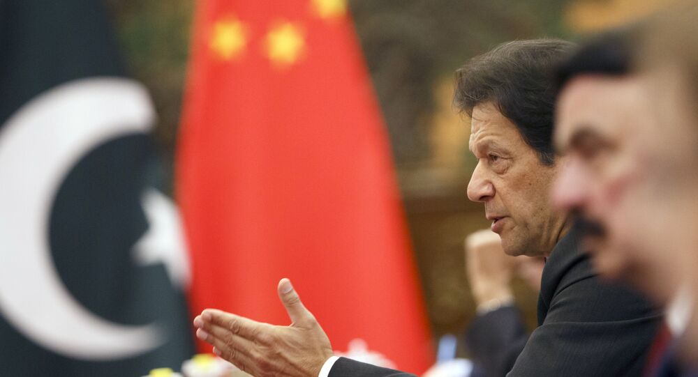 Pakistan's Prime Minister Imran Khan attends talks with Chinese President Xi Jinping (not pictured) at the Great Hall of the People in Beijing, Friday, Nov. 2, 2018