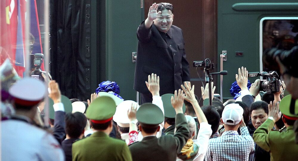 North Korean leader Kim Jong Un waves at the railway station in Dong Dang, Vietnam, 2 March 2019.