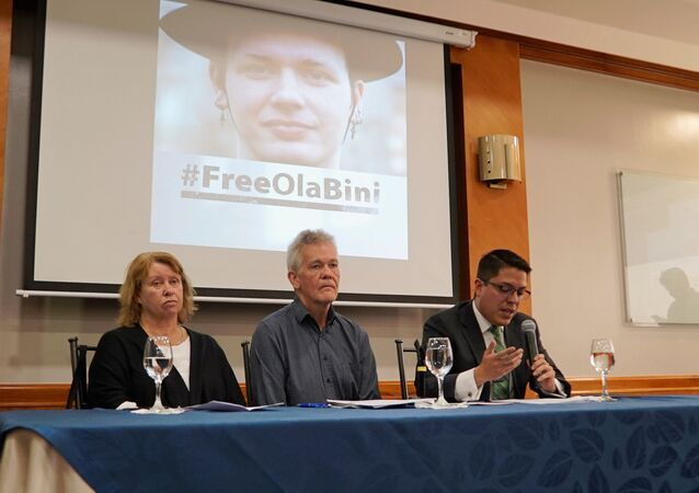 Gorel Biniel (L) and Dag Gustafsson (C), parents of Swedish software developer Ola Bini, and lawyer Carlos Soria, hold a news conference after a local judge ordered Bini jailed pending trial for alleged involvement in hacking government computer systems, in Quito, Ecuador April 16, 2019