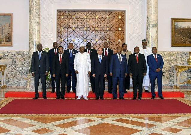 Egyptian President Abdel Fattah al-Sisi poses for a photo with heads of several African states during a consultative summit to discuss developments in Sudan and Libya, in Cairo, Egypt April 23, 2019 in this handout picture courtesy of the Egyptian Presidency