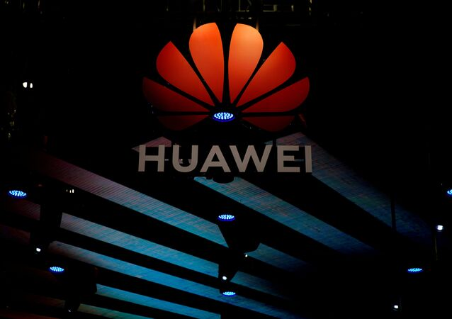 A Huawei logo is pictured during the media day for the Shanghai auto show in Shanghai, China April 16, 2019