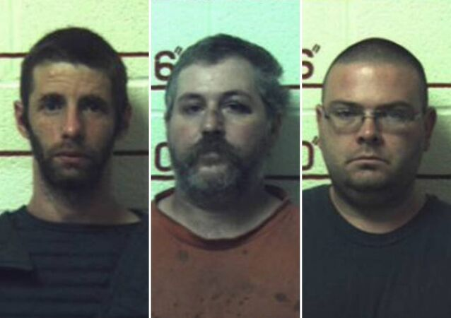 (L-R) Marc Measnikoff, Terry Wallace and Matthew Brubaker have been jailed after having sex with horses, a cow, a goat and dogs at their remote 'makeshift farm' in Munson, Pennsylvani