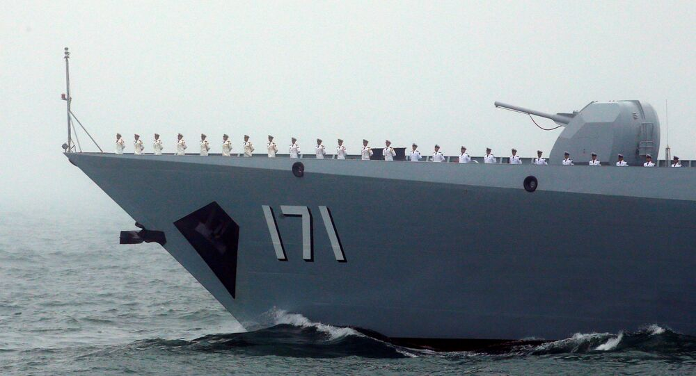 Chinese Navy's destroyer Haikou takes part in a naval parade off the eastern port city of Qingdao, to mark the 70th anniversary of the founding of Chinese People's Liberation Army Navy, China, April 23, 2019