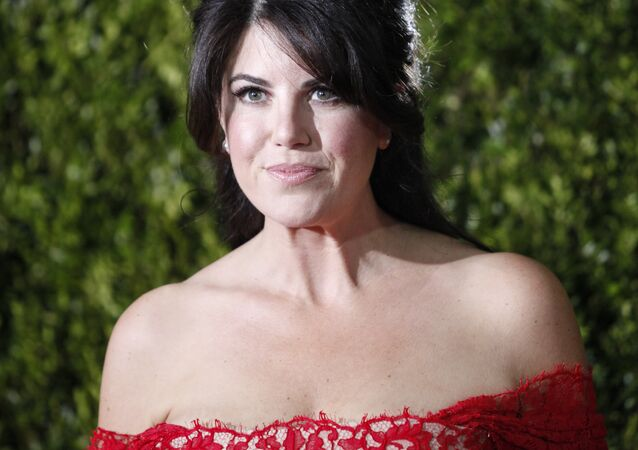 Monica Lewinsky poses on arrival for the American Theatre Wing's 69th Annual Tony Awards at the Radio City Music Hall in New York City on June 7, 2015