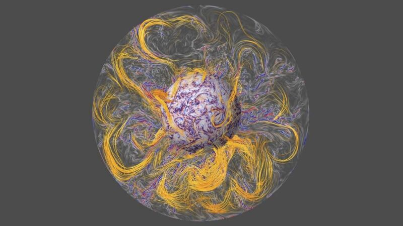 A simulation of the Earth's magnetic field