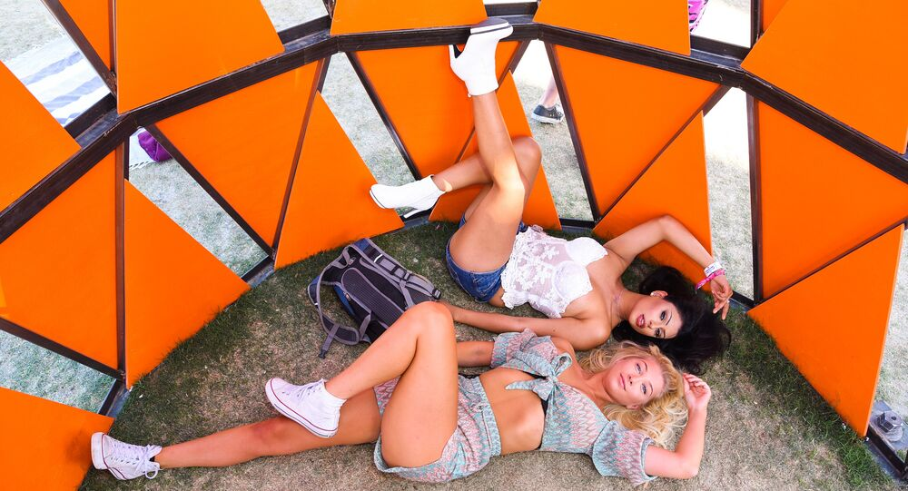 Festival goers attend the 2019 Coachella Valley Music And Arts Festival - Weekend 2 on April 21, 2019 in Indio, California