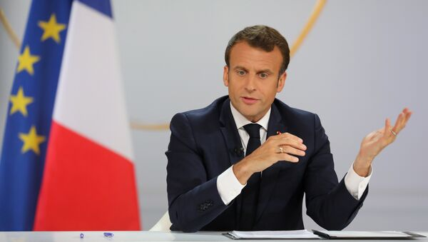 French President Emmanuel Macron gestures during his live address following the Great National Debate, at the Elysee Palace in Paris on April 25, 2019. President Emmanuel Macron on April 25, 2019 vowed to press ahead with his government's programme to transform France, adding public order must be restored after months of protests. - Sputnik International