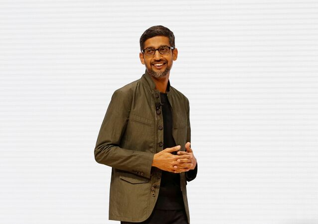 FILE PHOTO: Google CEO Sundar Pichai speaks during a keynote address announcing Google's new cloud gaming service Stadia at the Game Developers Conference in San Francisco