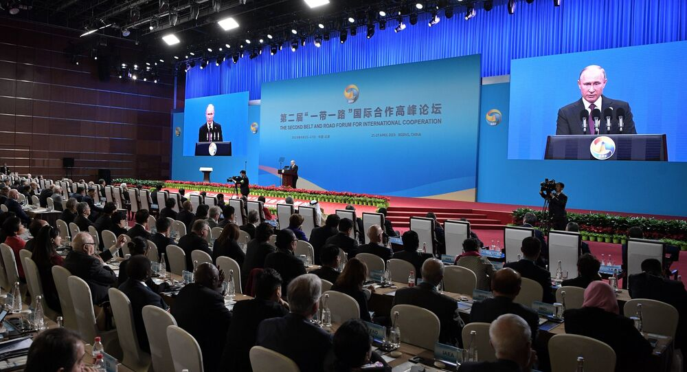 Russian President Vladimir Putin at the opening ceremony of the second Belt and Road forum in Beijing
