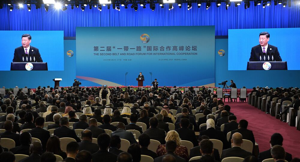 Xi Jinping speaks at the opening ceremony of the second Belt and Road forum in Beijing