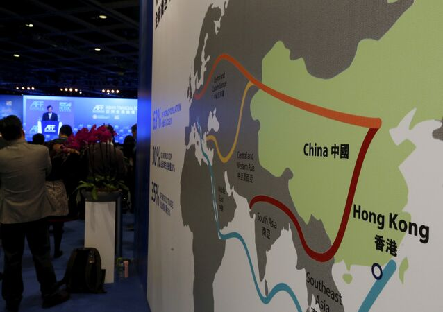 A map illustrating China's silk road economic belt and the 21st century maritime silk road, or the so-called One Belt, One Road megaproject, is displayed at the Asian Financial Forum in Hong Kong, China January 18, 2016