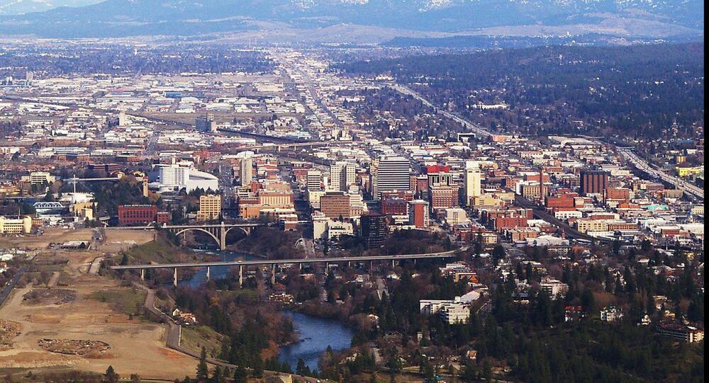 aerial photograph of Spokane, Washington