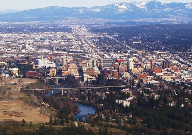 aerial photograph of Spokane, Washington
