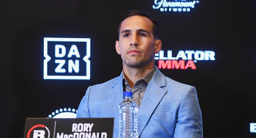 Rory MacDonald speaks onstage during the Bellator-DAZN announcement press conference on June 26, 2018 at Viacom in New York City.
