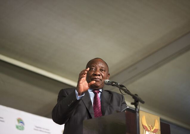 President of South Africa, Cyril Ramaphosa addresses a public meeting