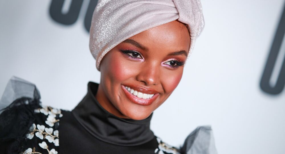Halima Aden attends House Of Uoma presents the launch of Uoma Beauty - The World's First Afropolitan Makeup Brand at NeueHouse Hollywood on April 25, 2019 in Los Angeles, California.