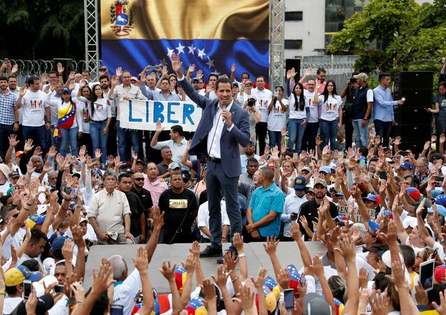Venezuelan opposition leader Juan Guaido, who many nations have recognised as the country's rightful interim ruler, speaks during a swearing-in ceremony for supporters in Caracas, Venezuela April 27, 2019