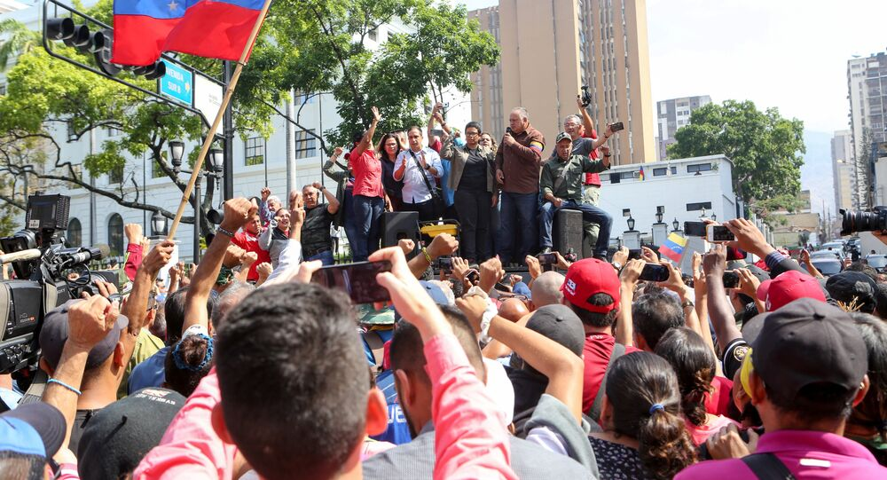 Venezuela's National Constituent Assembly President Diosdado Cabello speaks during a rally in support of the government of Venezuela's President Nicolas Maduro in Caracas