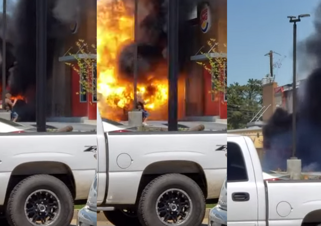 Well Done: Lucky Motorist Suffers Minor Burns From Truck Explosion