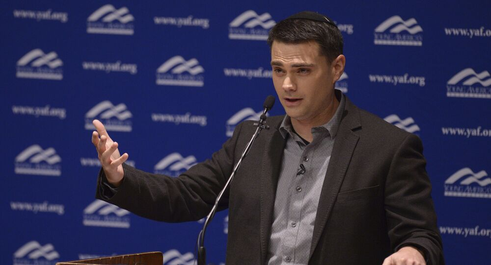 Controversial conservative commentator Ben Shapiro, editor-in-chief of the Daily Wire and former editor-at-large of Breitbart News, addresses the student group Young Americans for Freedom at the University of Utah's Social and Behavioral Sciences Lecture Hall, Wednesday, Sept. 27, 2017, in Salt Lake City.