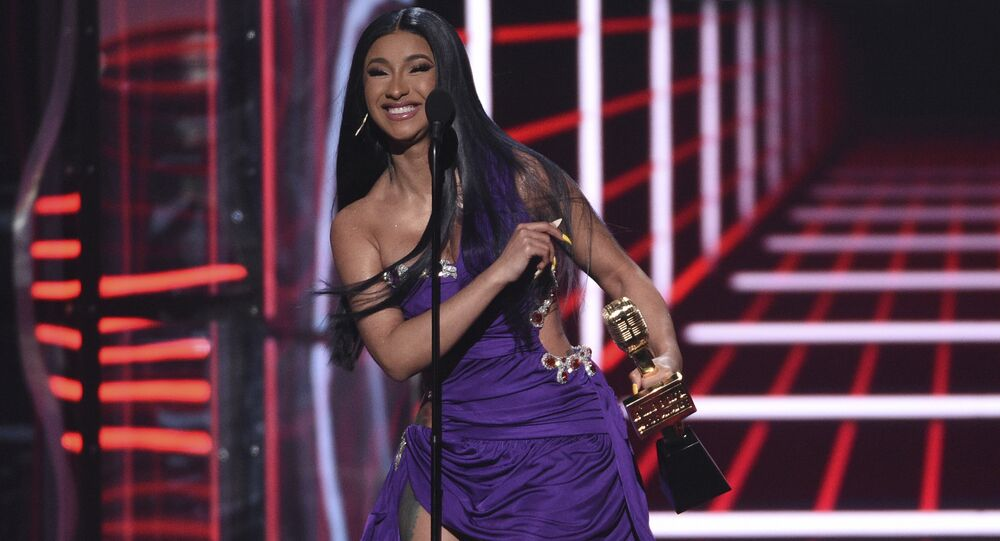 Cardi B accepts the award for top 100 song for Girls Like You at the Billboard Music Awards on Wednesday, May 1, 2019, at the MGM Grand Garden Arena in Las Vegas