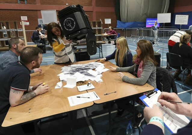 Counting of ballots begins in the Northern Ireland local elections as at Coleraine Leisure centre in County Londonderry, Friday May 3, 2019. Elections were held Thursday for more than 8,000 seats on 259 local authorities across England — although not in London — and Northern Ireland.