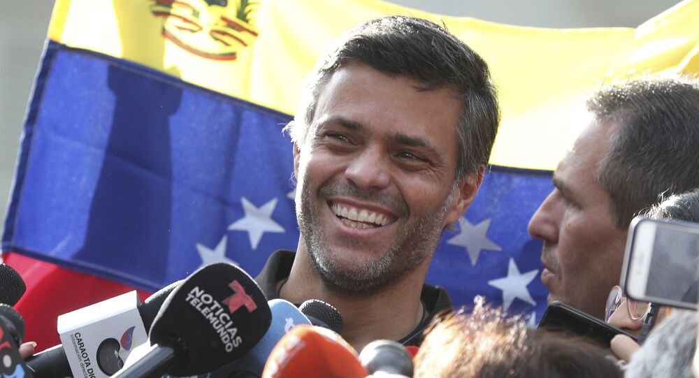 Venezuelan opposition politician Leopoldo Lopez arrives in Spain