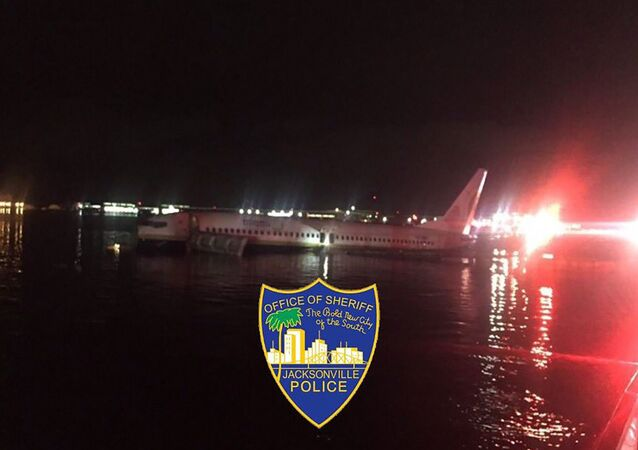 This handout image obtained courtesy of Jacksonville, Florida, Sheriff's Office on May 3, 2019, shows a Boeing 737 aircraft after it went off the runway at Naval Air Station Jacksonville.
