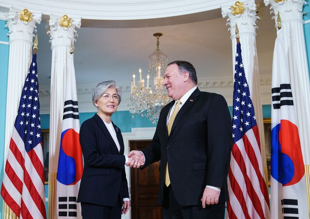 US Secretary of State Mike Pompeo meets with South Korean Foreign Minister Kang Kyung-wha on March 29, 2019 at the State Department in Washington, DC.