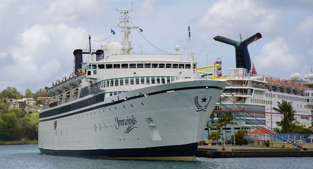 The Freewinds cruise ship is docked in the port of Castries, the capital of St. Lucia, Thursday, May 2, 2019.