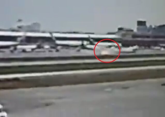 Screengrab of a video allegedly showing a Sukhoi Superjet-100 crash-landing at Sheremetyevo airport in Moscow
