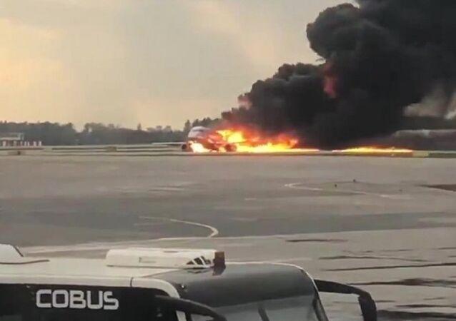 Plane caught fire during hard landing at Sheremetyevo airport